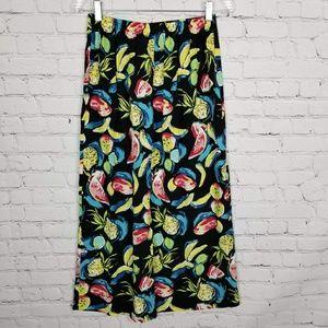 Vintage Skirts - Vintage | Fruit Print Faux Maxi Skirt
